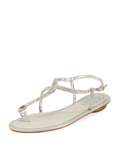Crystal-Embellished Flat T-Strap Sandal