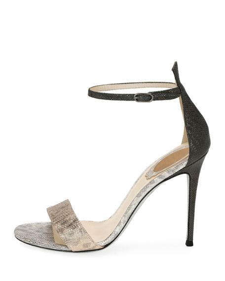 Metallic Colorblock Snakeskin d'Orsay Sandal