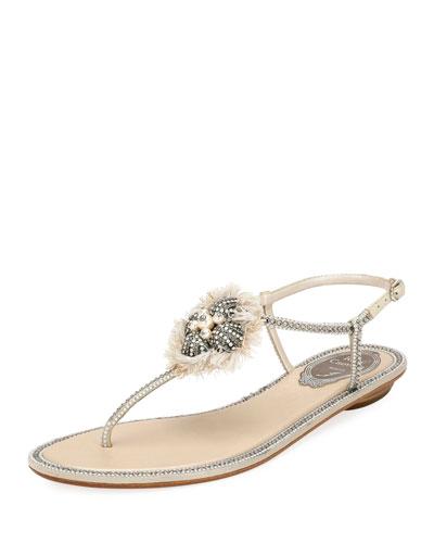 Crystal-Embellished Flat Leather Thong Sandal