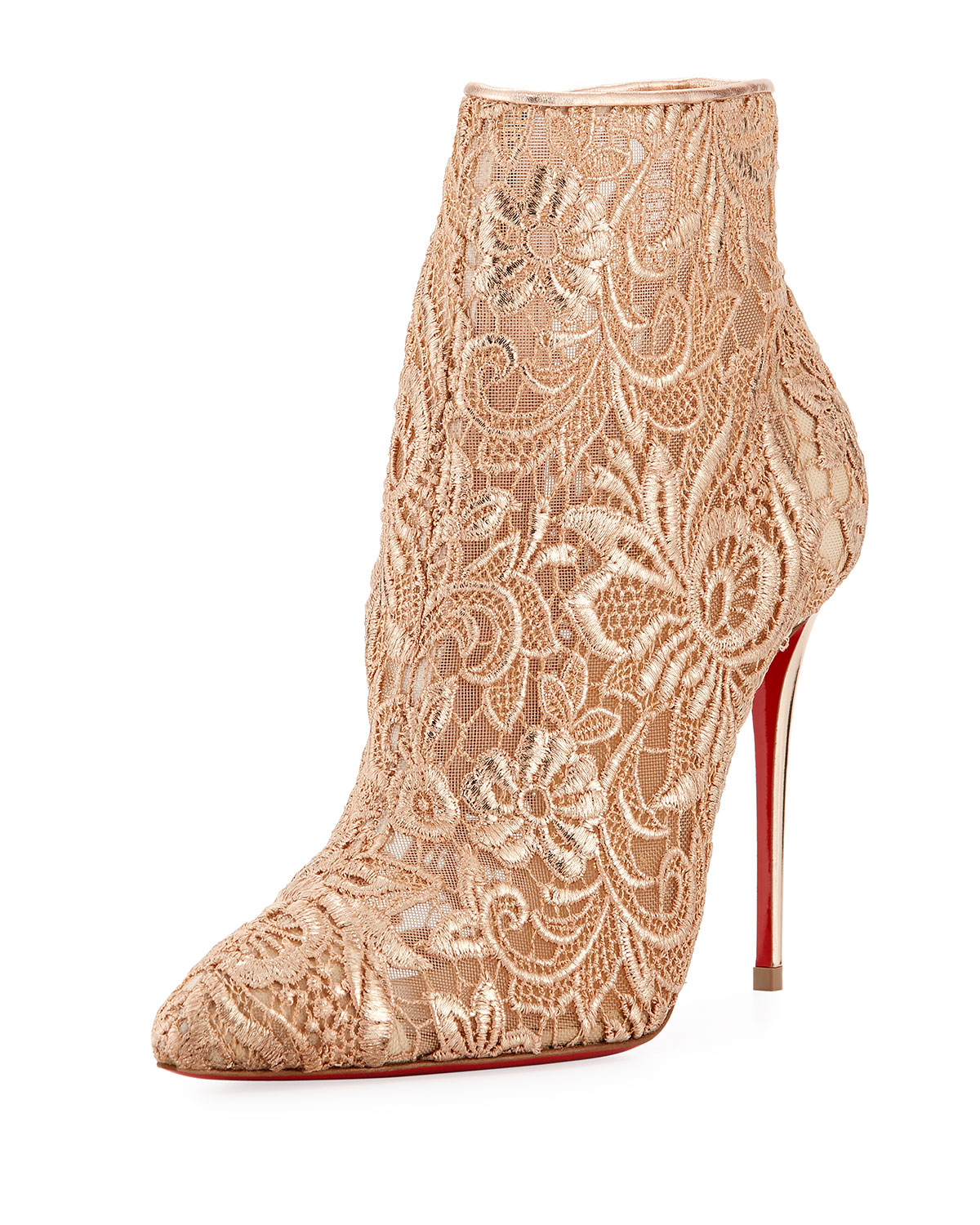 the latest 85ef5 2ed66 Christian Louboutin Gipsy Floral-Lace Red Sole Bootie