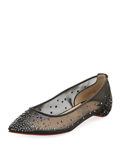 Follies Strass Red Sole Flat