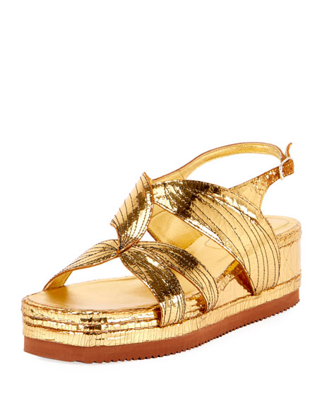 Metallic Leather Platform Sandal