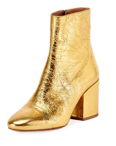 Crinkled Metallic Leather Block-Heel Boot