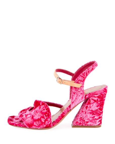 Flocked Velvet Block-Heel Sandal