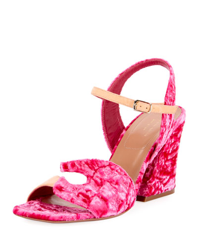 Flocked Velvet Block-Heel Sandal