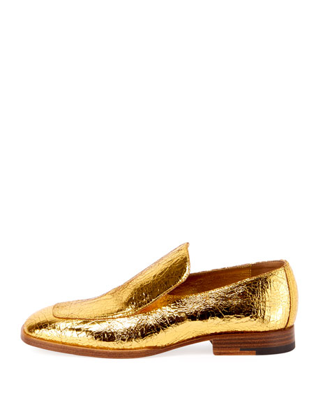 Crackled Metallic Leather Loafer