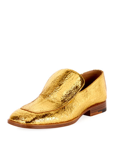 Crackled Metallic Leather Loafer