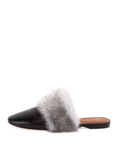 Bedford Mink Fur-Trim Mule Flat