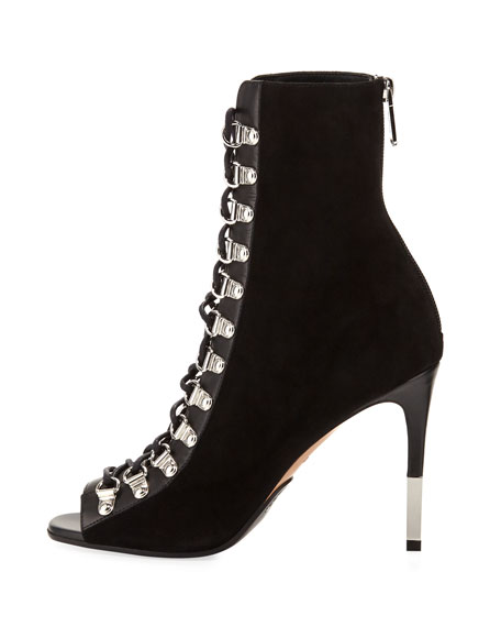 Club Lace-Up Open-Toe Bootie