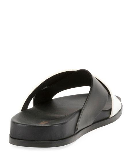 Crisscross Flat Leather Slide Sandal