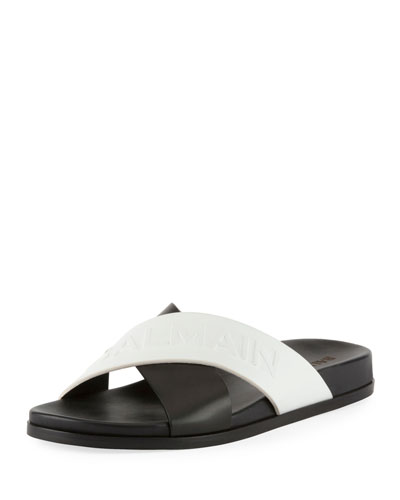 Crisscross Flat Leather Slide Sandal
