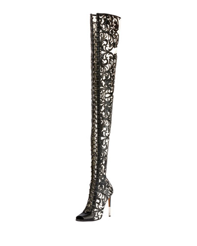 Campbel Over-the-Knee Floral Boot
