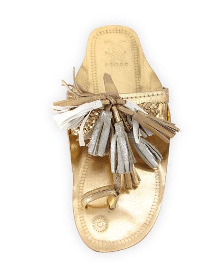 Scaramouche Metallic  Tassel-Trim Toe-Ring Sandal