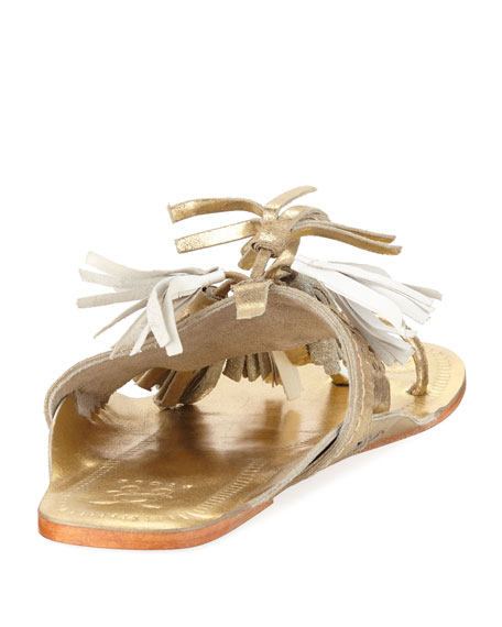 Scaramouche Metallic  Tassel-Trim Toe-Ring Sandal