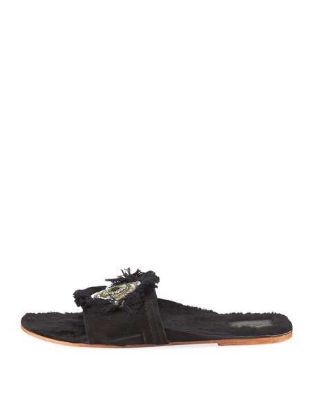 Fringed Evil Eye Flat Fur Slide Sandal