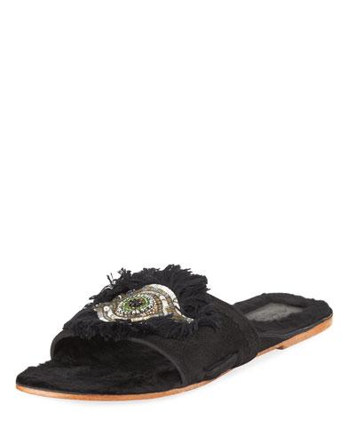 Fringed Evil Eye Flat Fur Slide Sandal