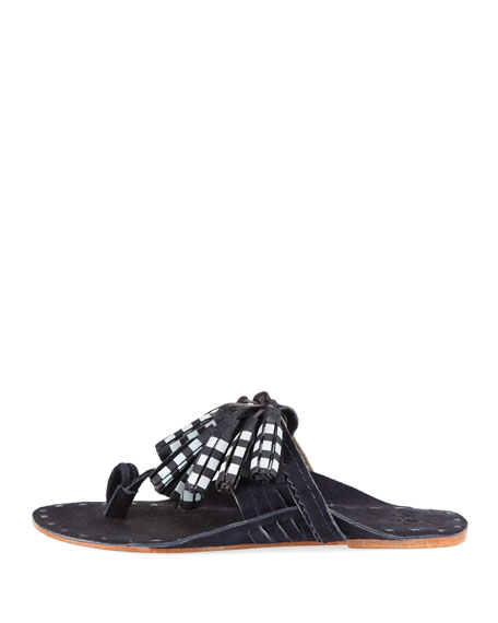 Scaramouche Tassel-Trim Toe-Ring Sandal