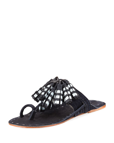 Scaramouche Tasseled Leather And Suede Sandals - Navy Figue nBg9aPpe