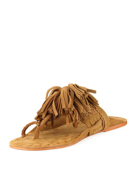 Scaramouche Suede Tassel Thong Sandal