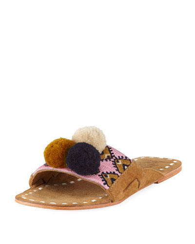 Noona Embroidered Pompom Slide