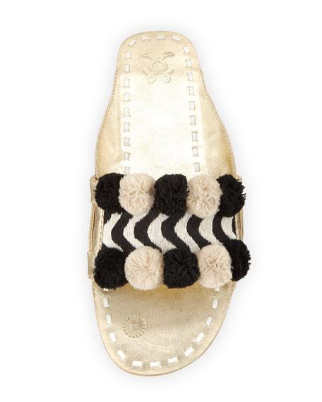 River Striped Pompom Slide Sandal
