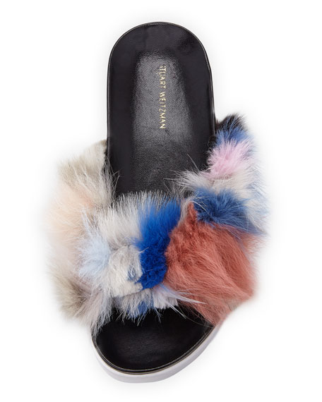 Sublime Flat Fox Fur Slide Sandal