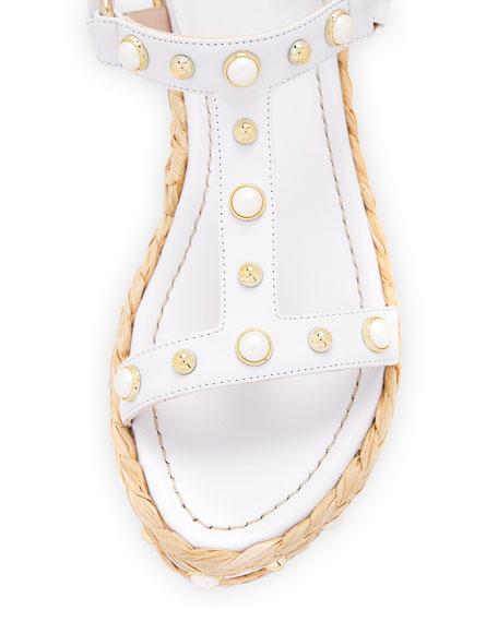 Beraffia Pearly Napa Platform Wedge Sandal