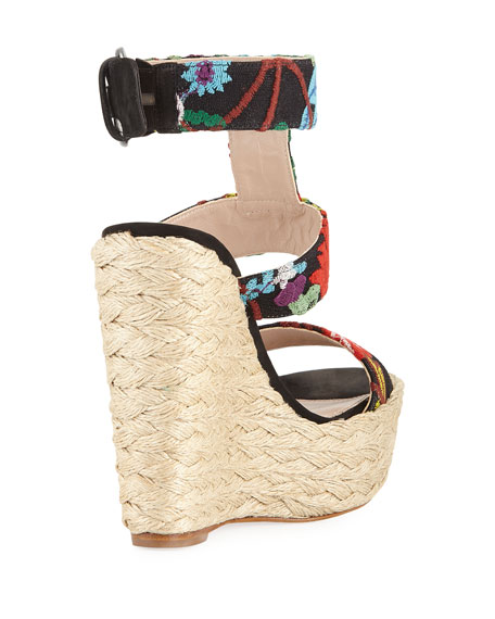 Mame Embroidered Espadrille Wedge Sandal