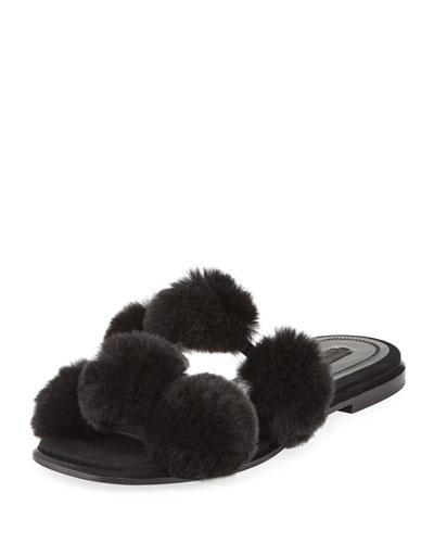 Ava Fur Pompom Slide Sandal