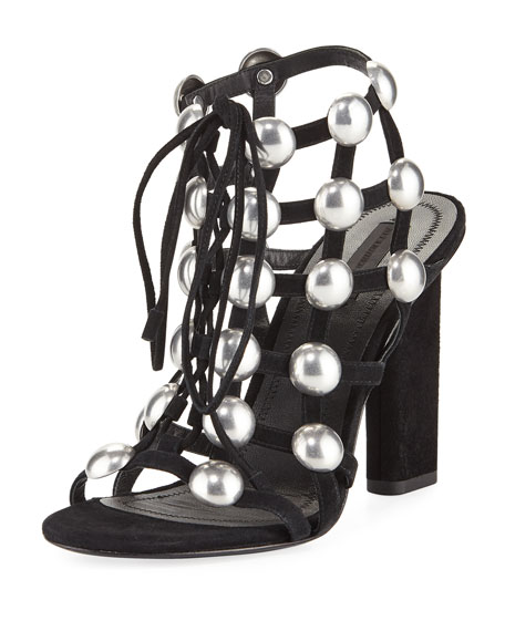 Rubie Embellished Suede Cage Sandals, Black