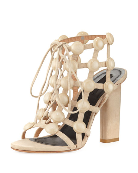 Rubie Leather Cage Sandal, Beige