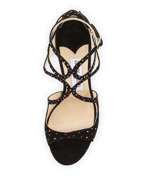 Lang Crystal-Studded Suede Sandal