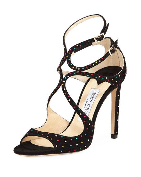e109cf6055c9 Jimmy Choo Lang 120mm Crystal-Studded Suede Sandal