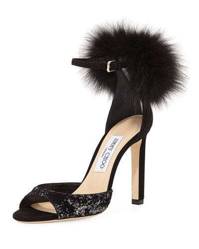 Suri Fur-Trim d'Orsay Sandal