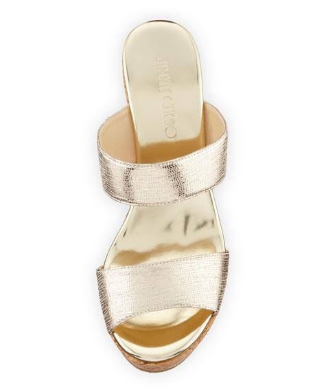 Parker Metallic Two-Band Wedge Sandal