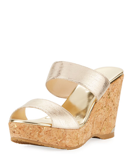 9433b6f81b33 Jimmy Choo Parker Metallic Two-Band Wedge Sandal