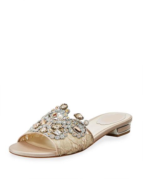 Embellished Flat Lace Slide Sandal