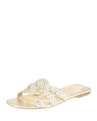Marilla Flat Metallic Red Sole Slide Sandal