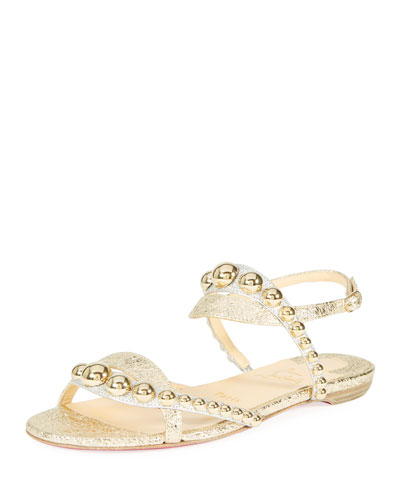 Galleria Flat Metallic Leather Red Sole Sandal