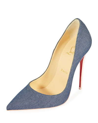 So Kate 120mm Denim Red Sole Pump