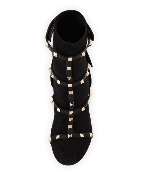 Rockstud Caged Knit Bootie