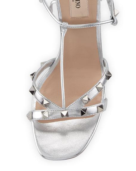 Rockstud Metallic T-Strap Sandal