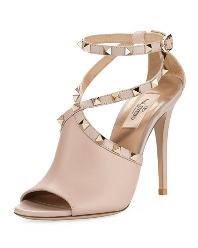 Leather Rockstud Ankle-Wrap Sandal