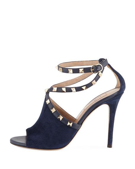 Suede Rockstud Ankle-Wrap Sandal