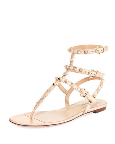 Rockstud Flat Leather Thong Sandal