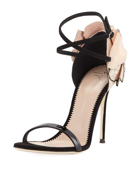 Crystal Petal-Embellished Ankle-Wrap Sandal