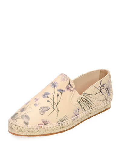 Botanical-Print Leather Espadrille