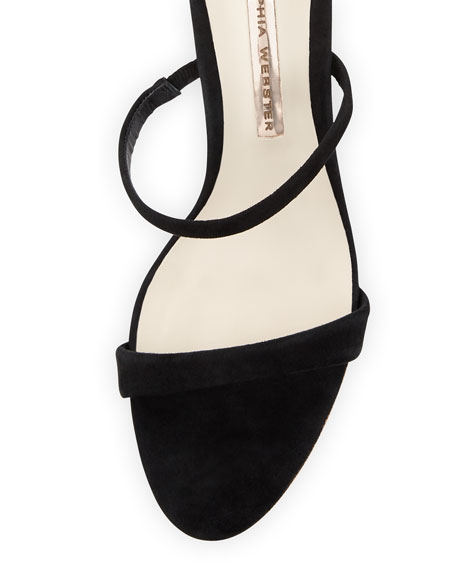 Rosalind Three-Strap Crystal-Heel Suede Sandal