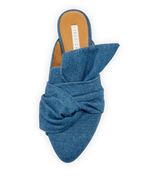 Grey Denim Wrap Mule Flat