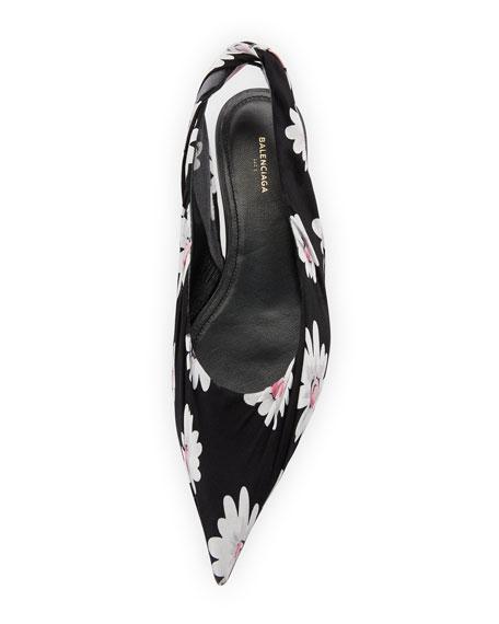 Floral-Print Slingback Flat